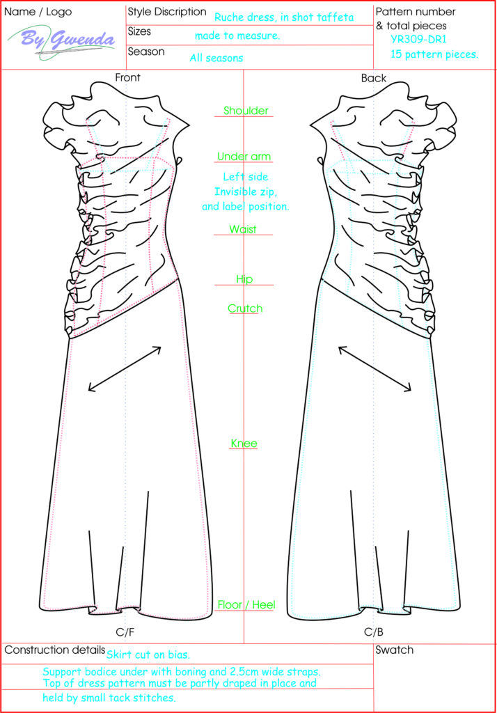 Technical Drawing Rouche Neck Dress